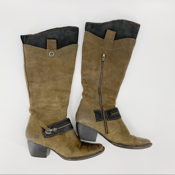 BORN leather heel riding boots